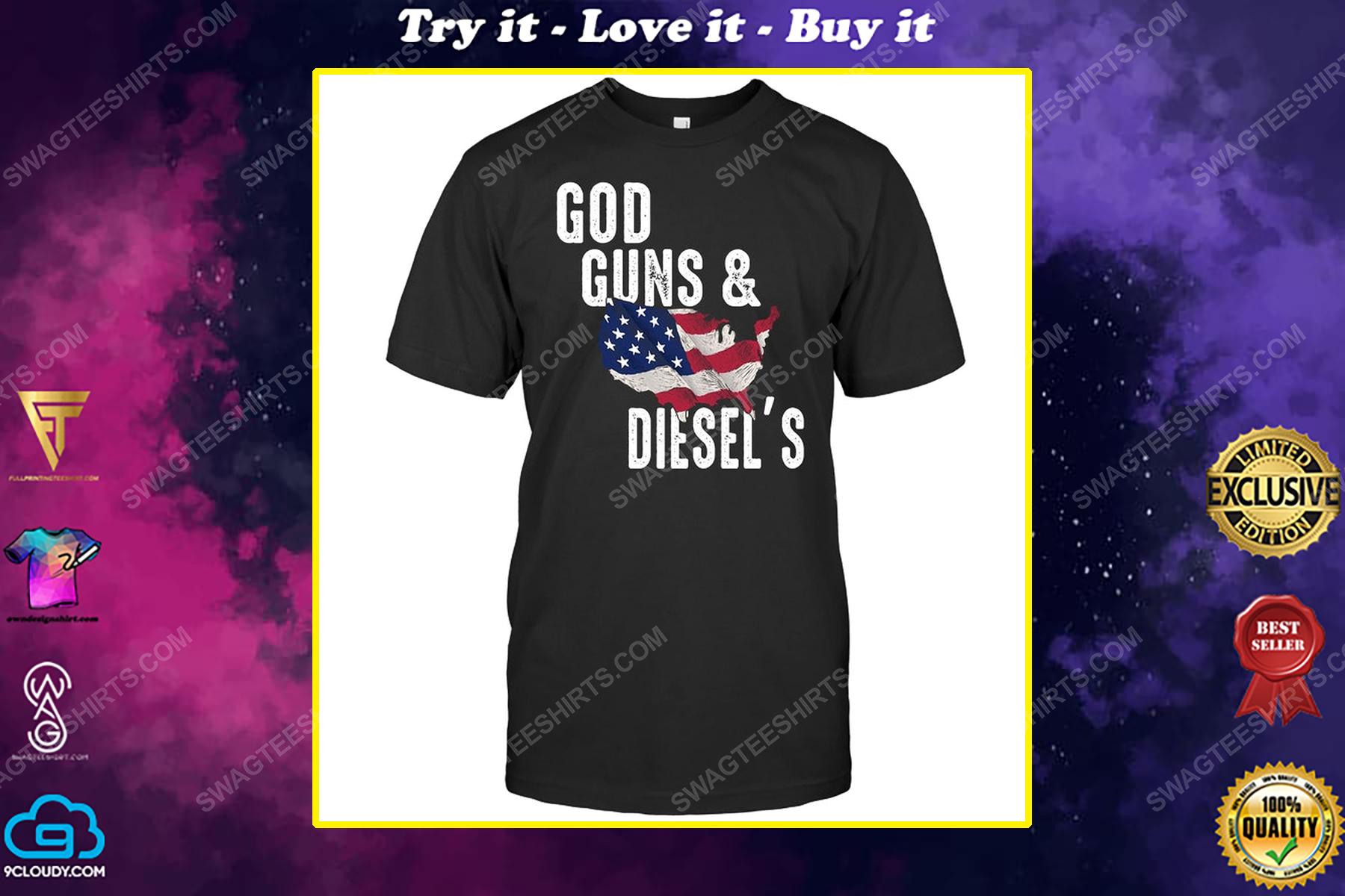 God guns and diesel's american flag political shirt