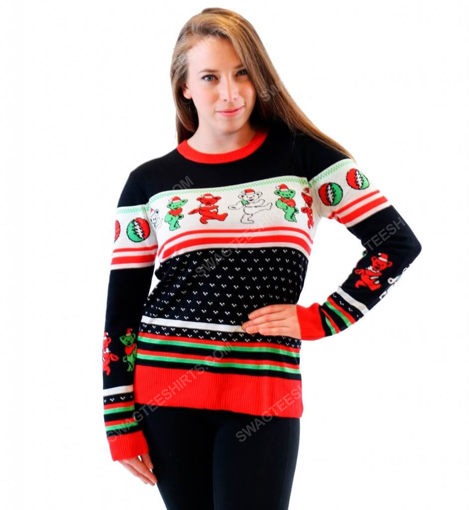 Grateful dead dancing bears full print ugly christmas sweater 2 - Copy