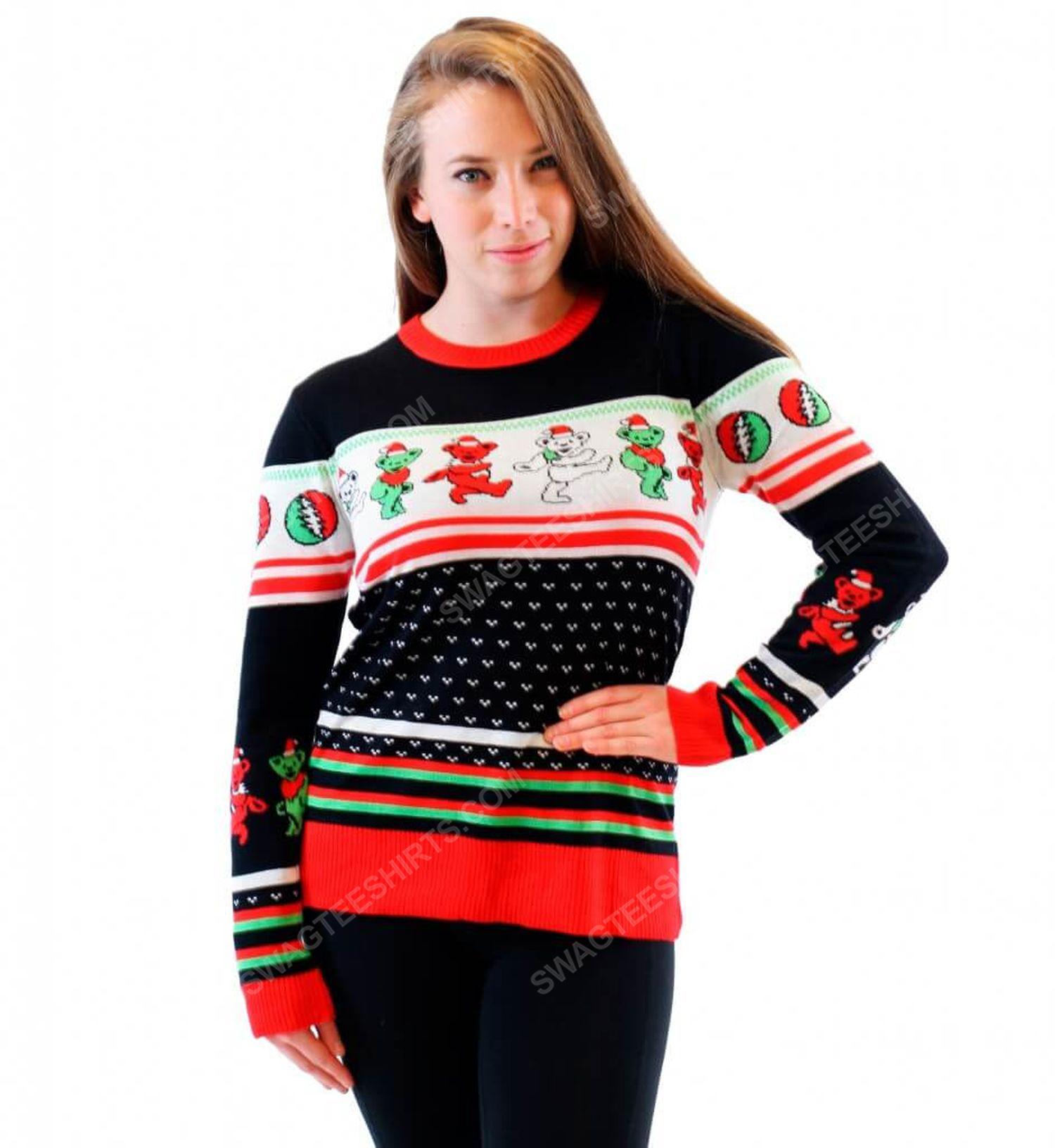 Grateful dead dancing bears full print ugly christmas sweater 2