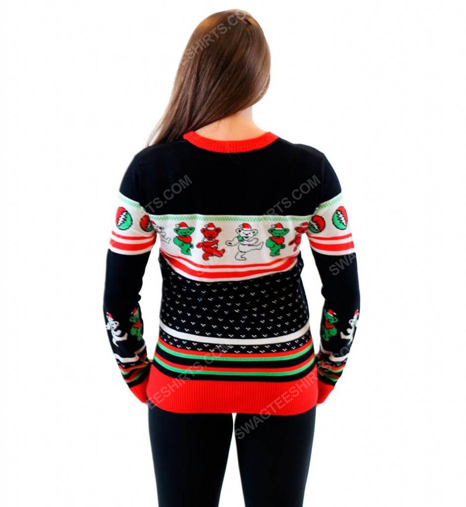 Grateful dead dancing bears full print ugly christmas sweater 3