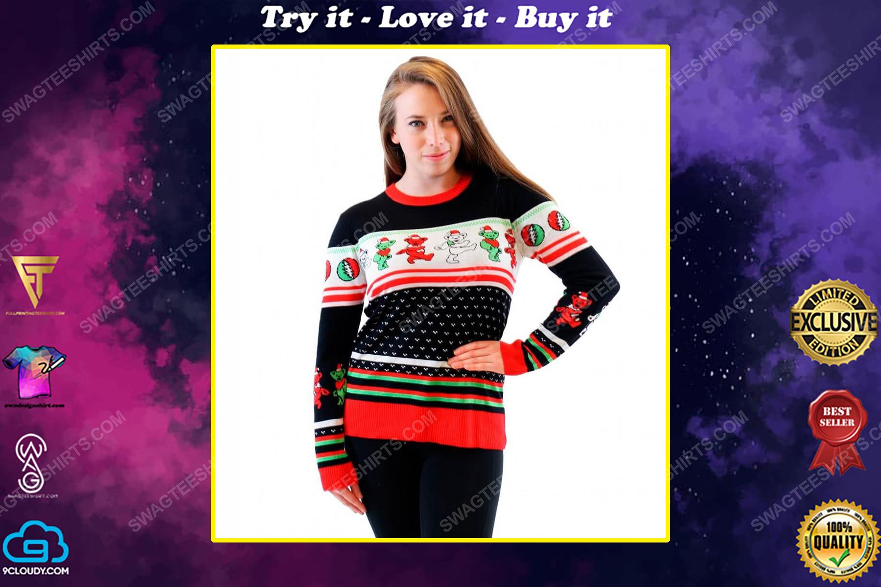 Grateful dead dancing bears full print ugly christmas sweater