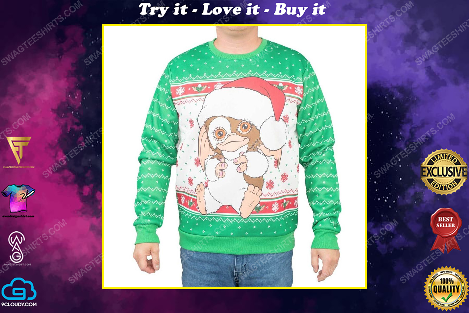 Gremlins gizmo santa full print ugly christmas sweater