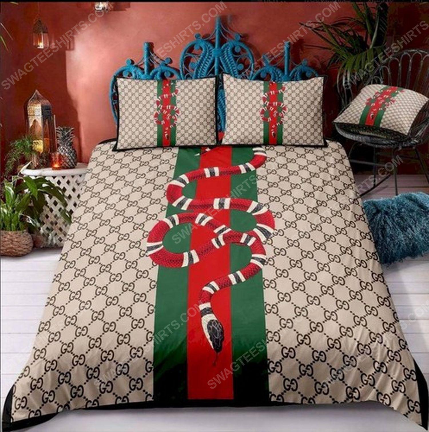 Gucci and snack symbols full print duvet cover bedding set 2