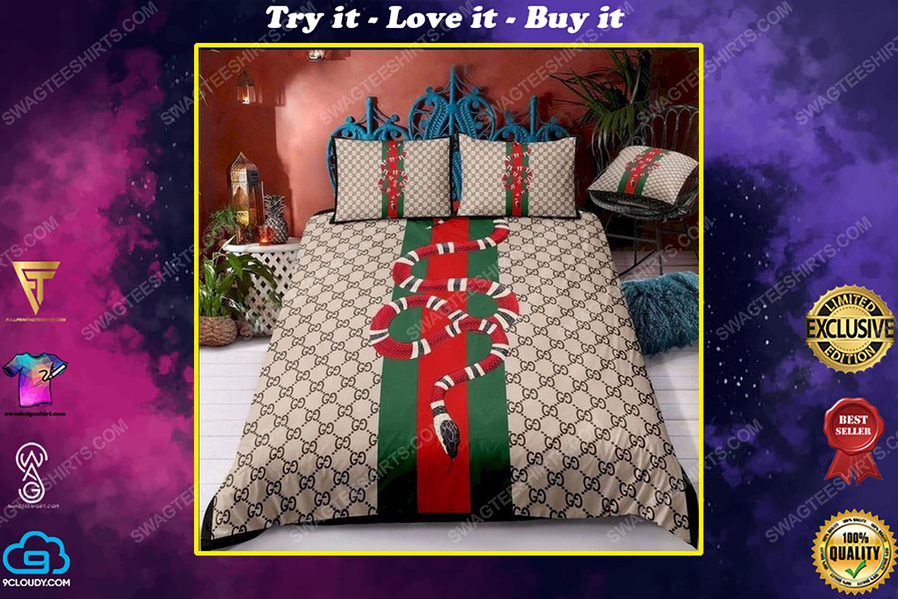 Gucci and snack symbols full print duvet cover bedding set