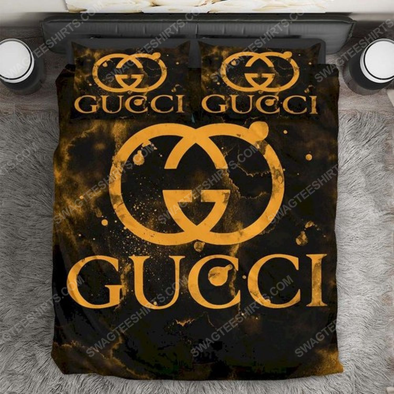 Gucci monogram gold version full print duvet cover bedding set 2