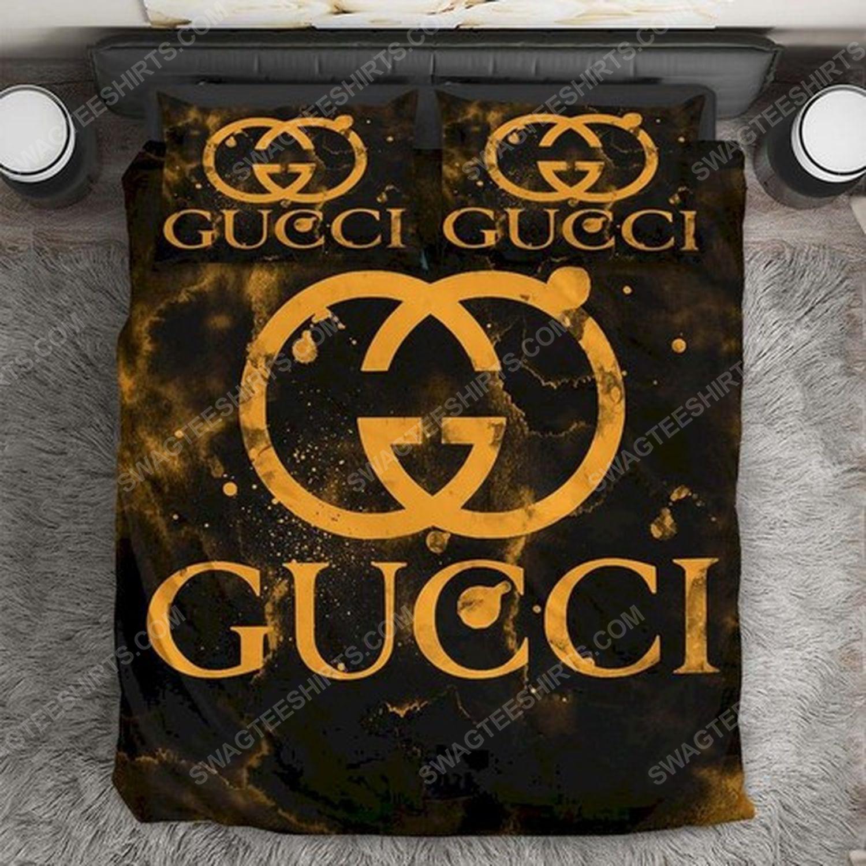 Gucci monogram gold version full print duvet cover bedding set 3 - Copy