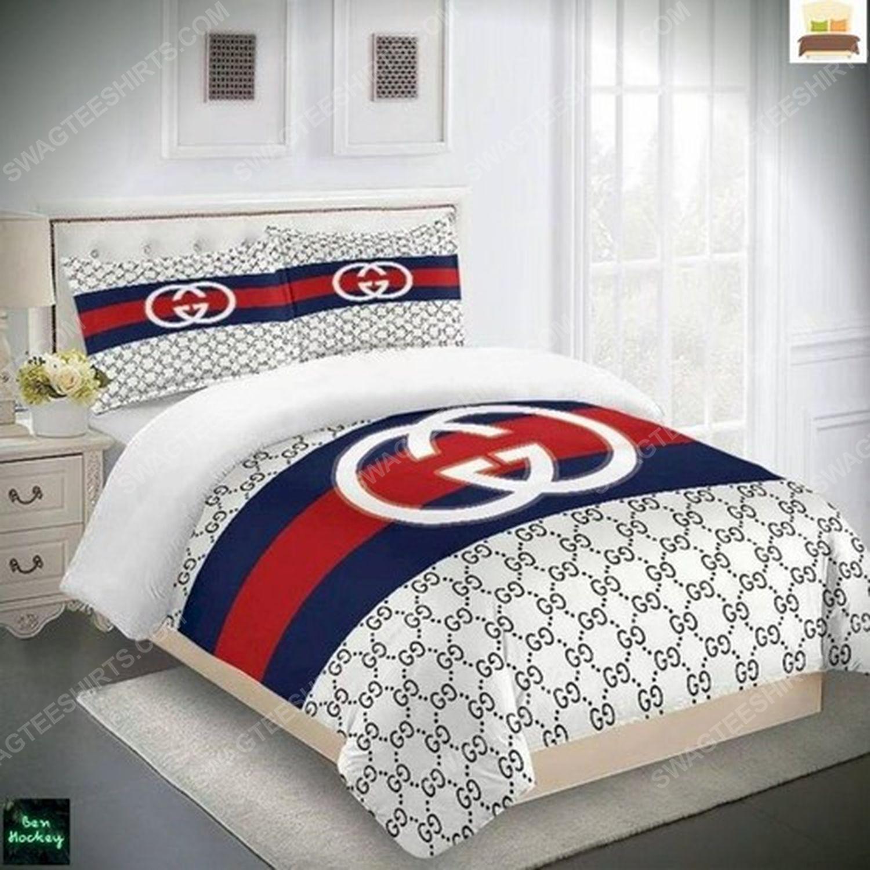 Gucci monogram symbols full print duvet cover bedding set 3