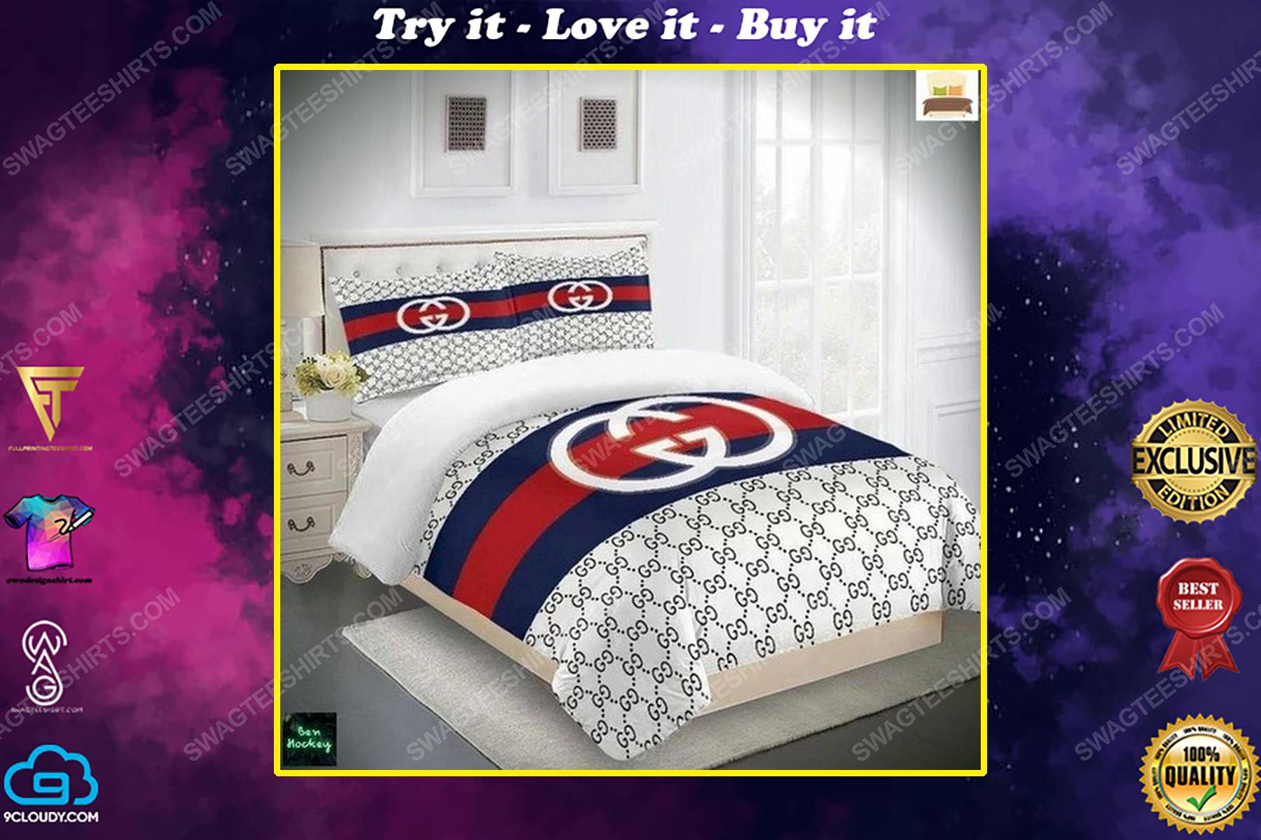 Gucci monogram symbols full print duvet cover bedding set