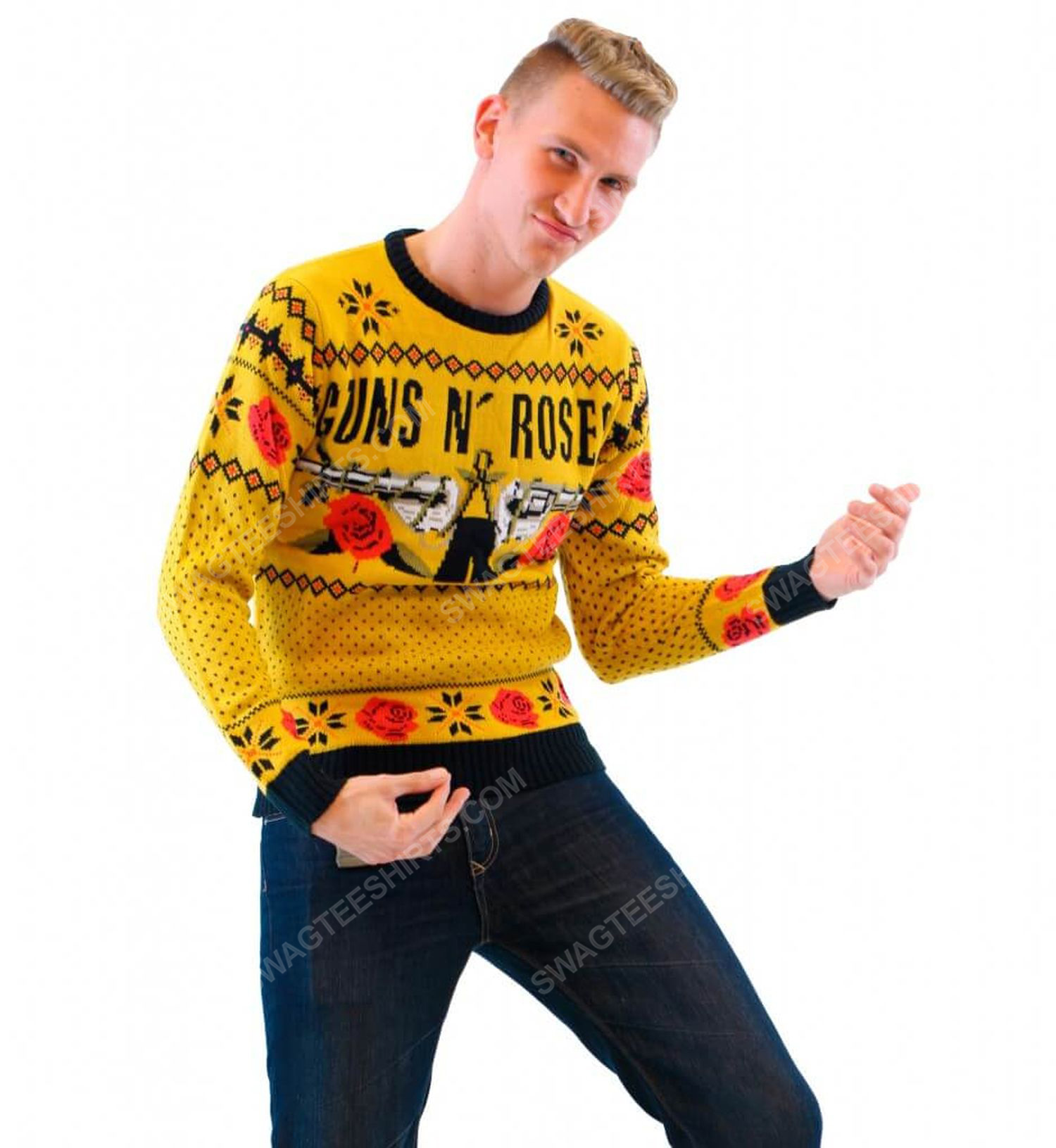 Guns n' roses rock band full print ugly christmas sweater 4