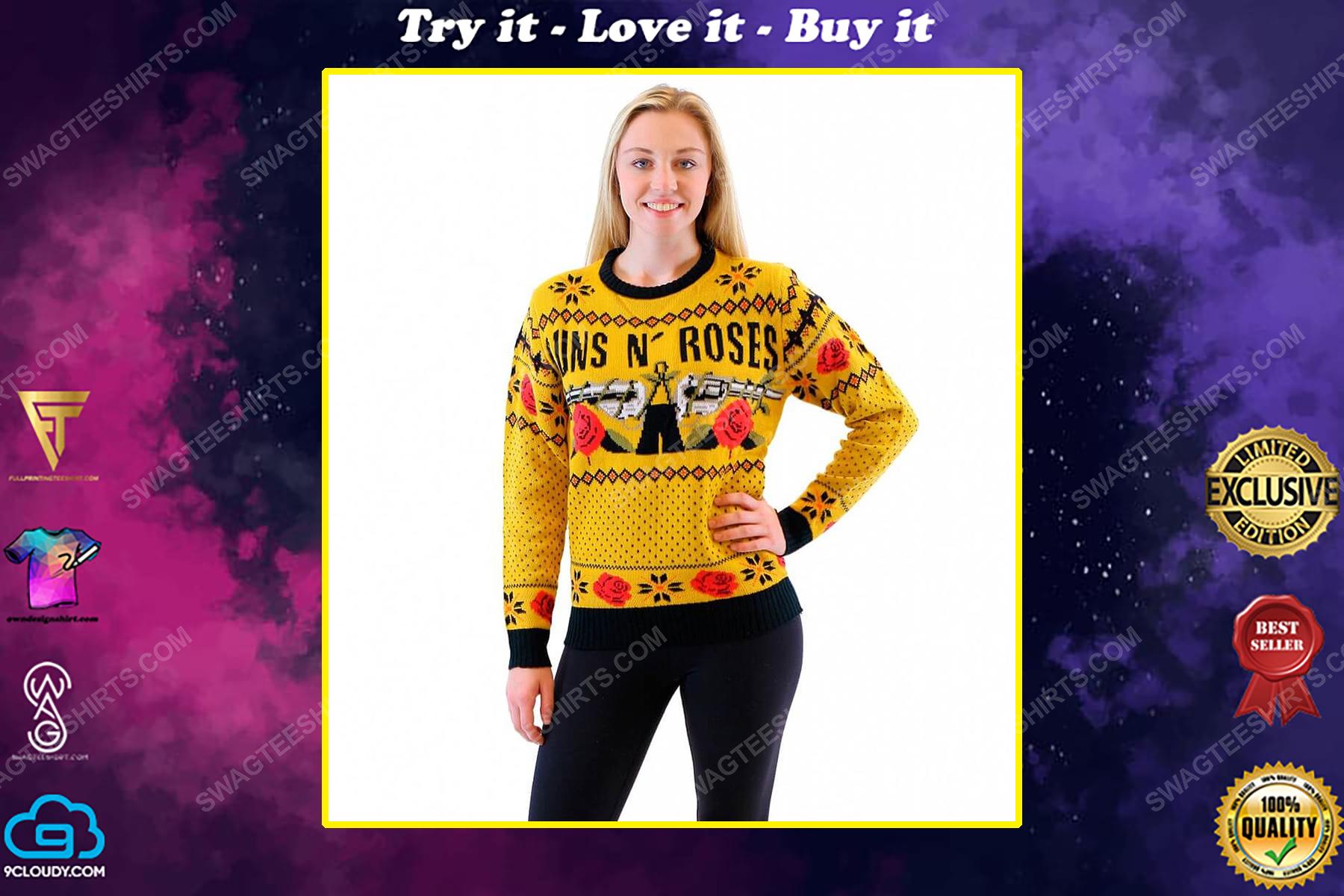 Guns n' roses rock band full print ugly christmas sweater