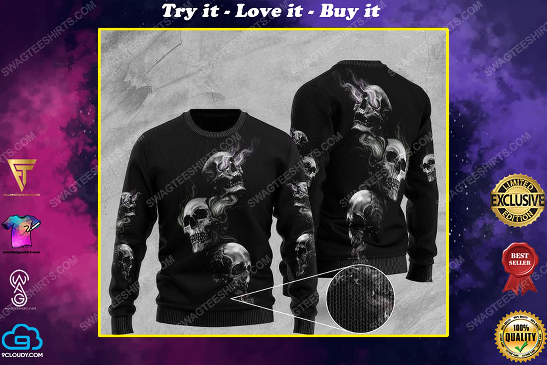 Halloween skull smoking all over print ugly christmas sweater