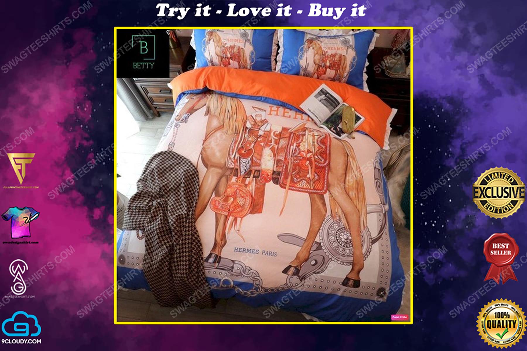 Hermes and horse symbol full print duvet cover bedding set