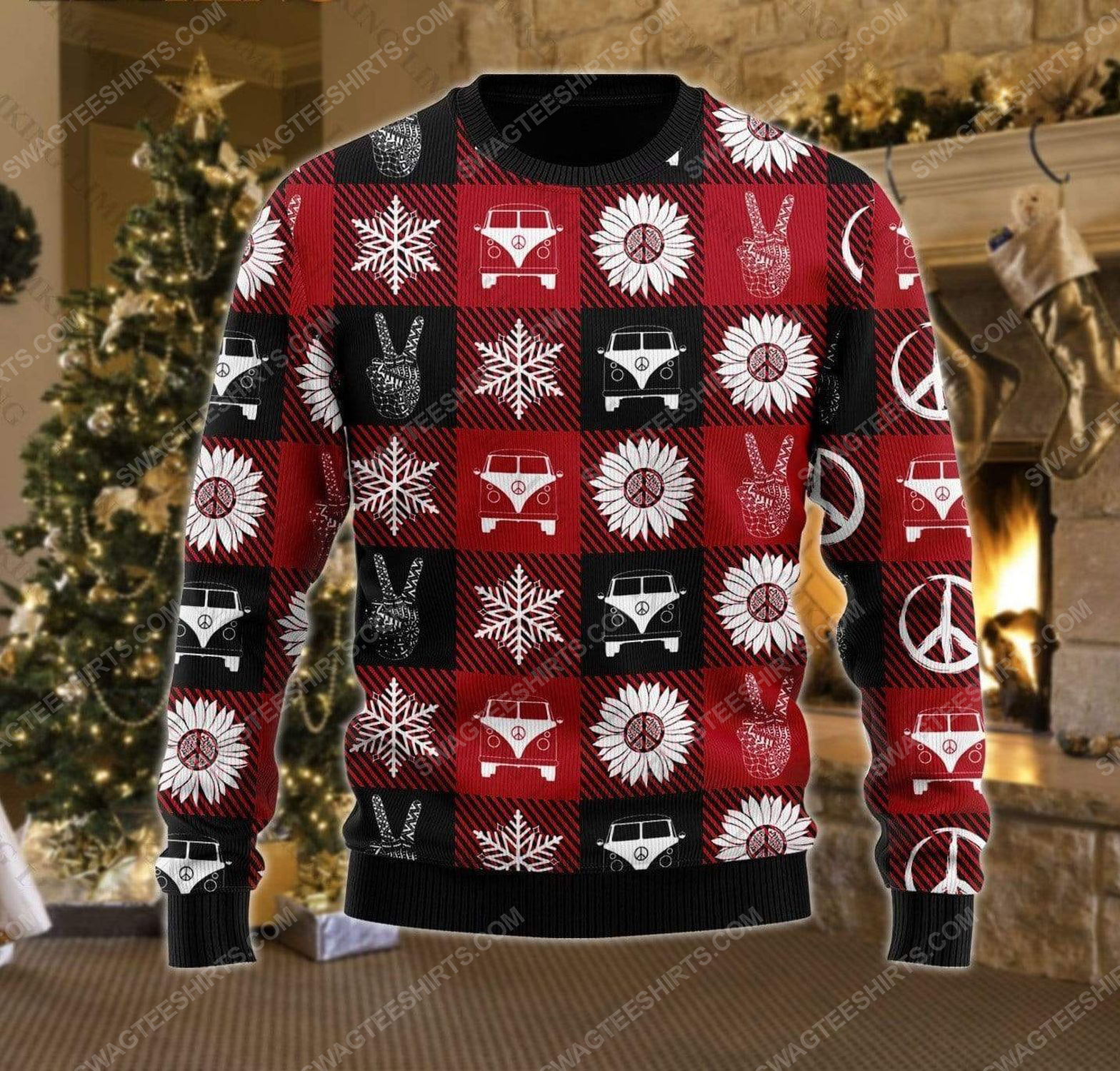 Hippie peace love ugly christmas sweater 2