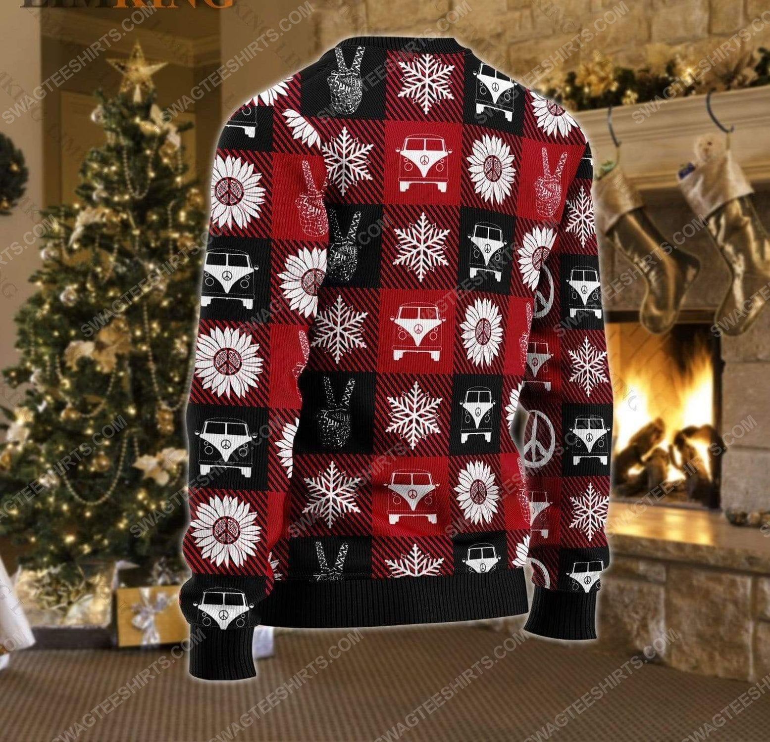 Hippie peace love ugly christmas sweater 3 - Copy