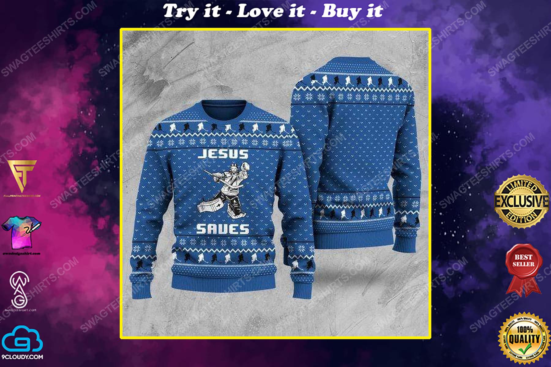 Hockey Jesus saves all over print ugly christmas sweater