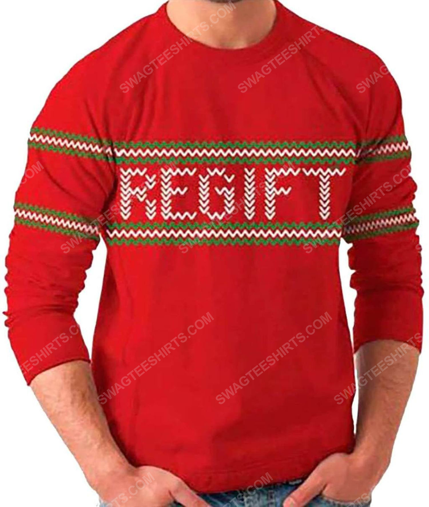 Holiday present regift full print ugly christmas sweater 2