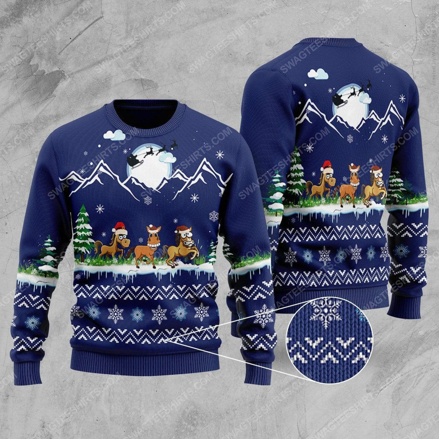 Horse with santa hat all over print ugly christmas sweater 2 - Copy