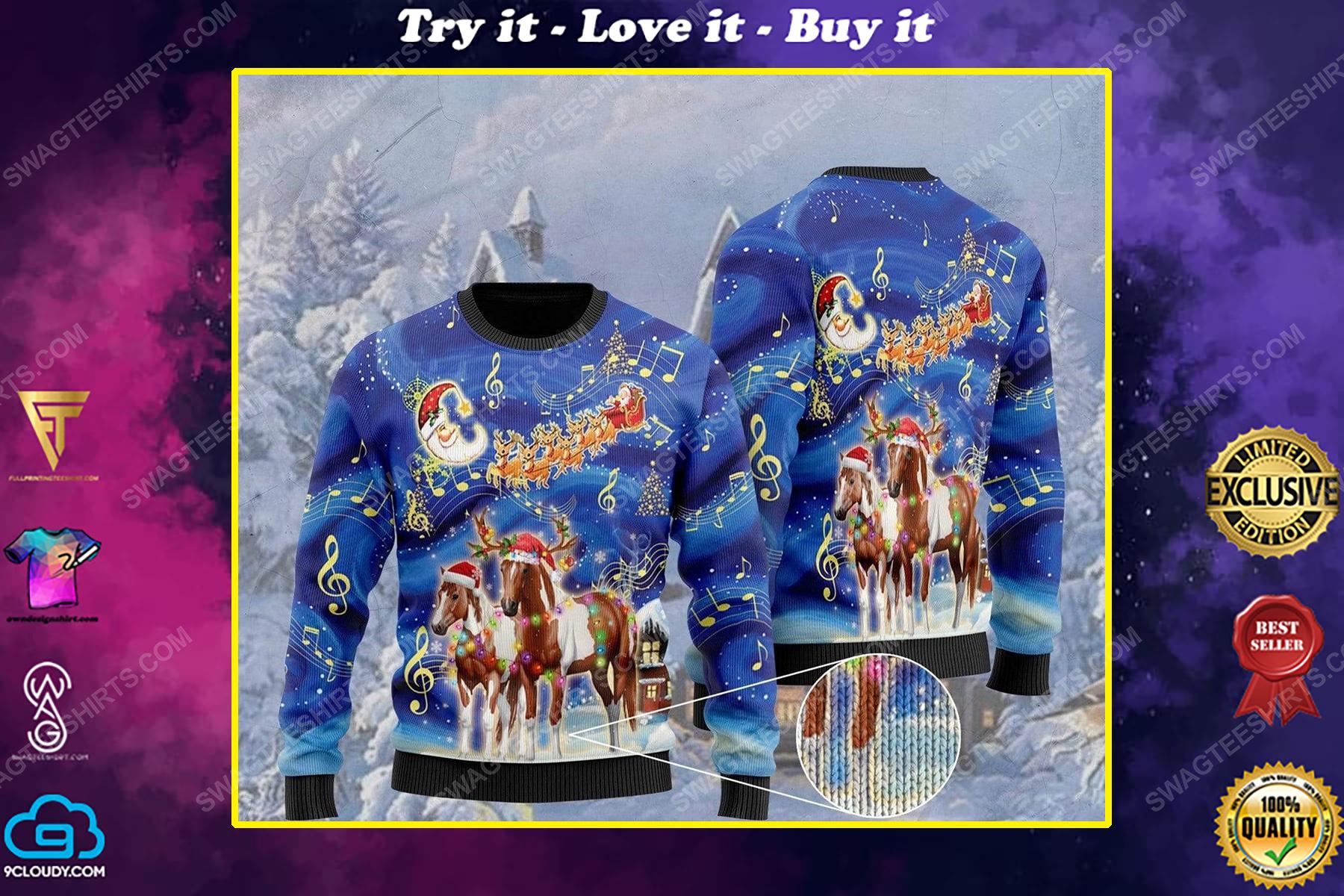 Horses christmas light all over print ugly christmas sweater