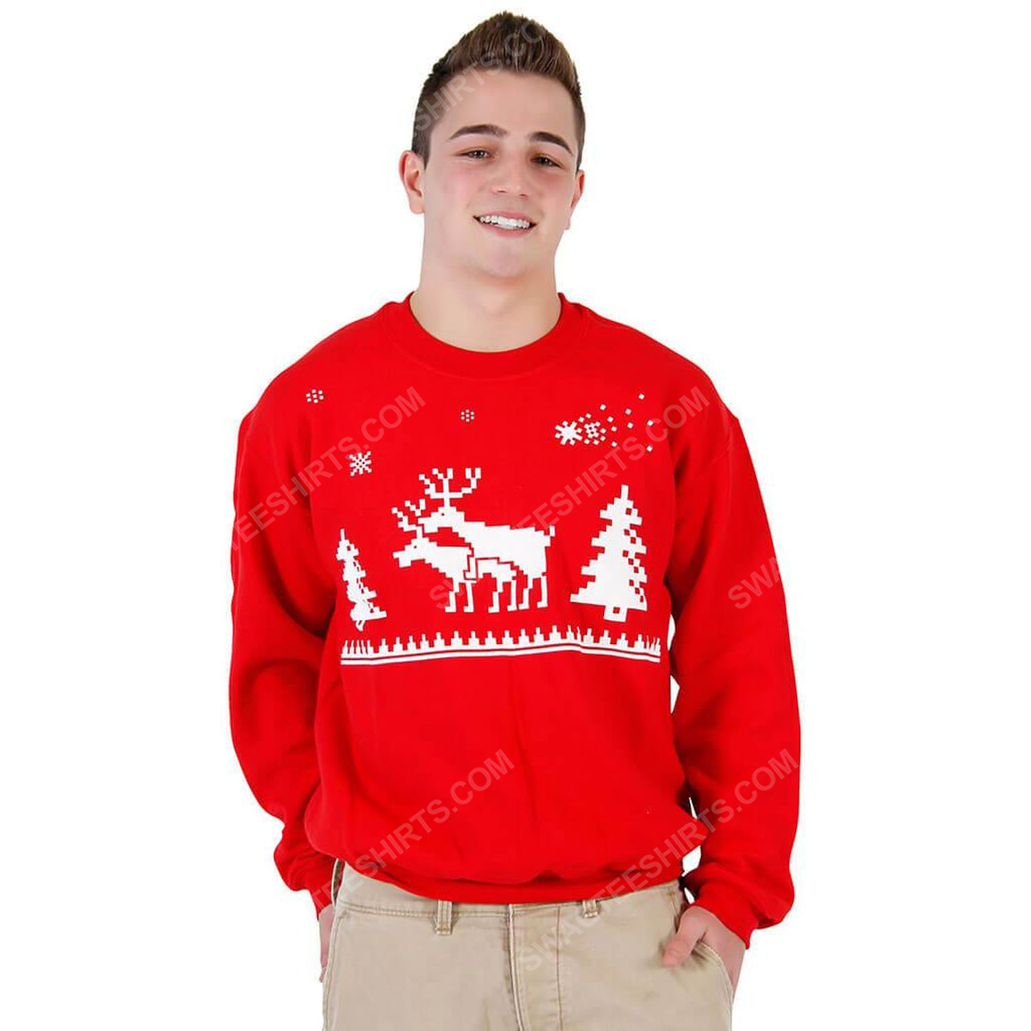 Humping reindeer full print ugly christmas sweater 2 - Copy