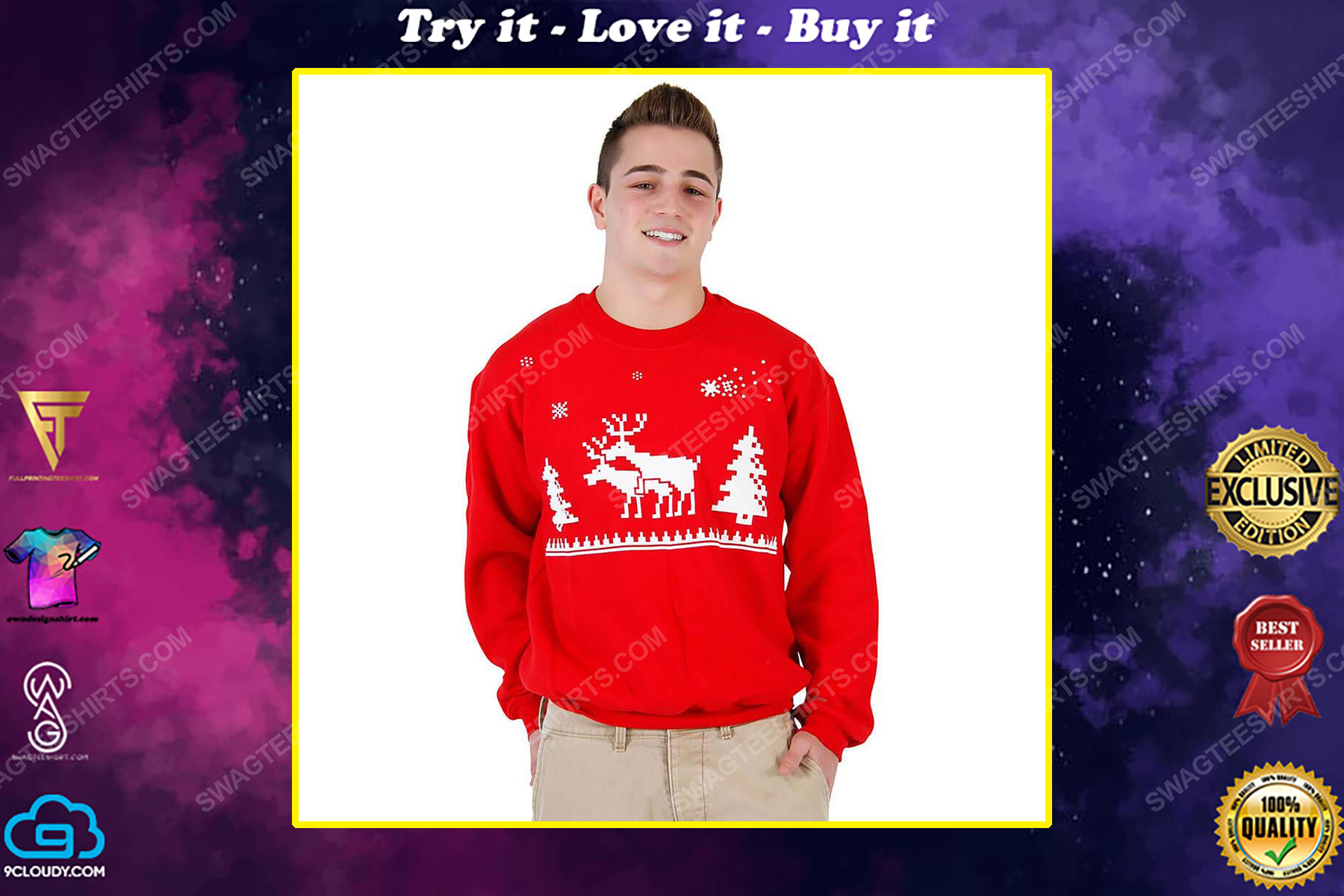 Humping reindeer full print ugly christmas sweater