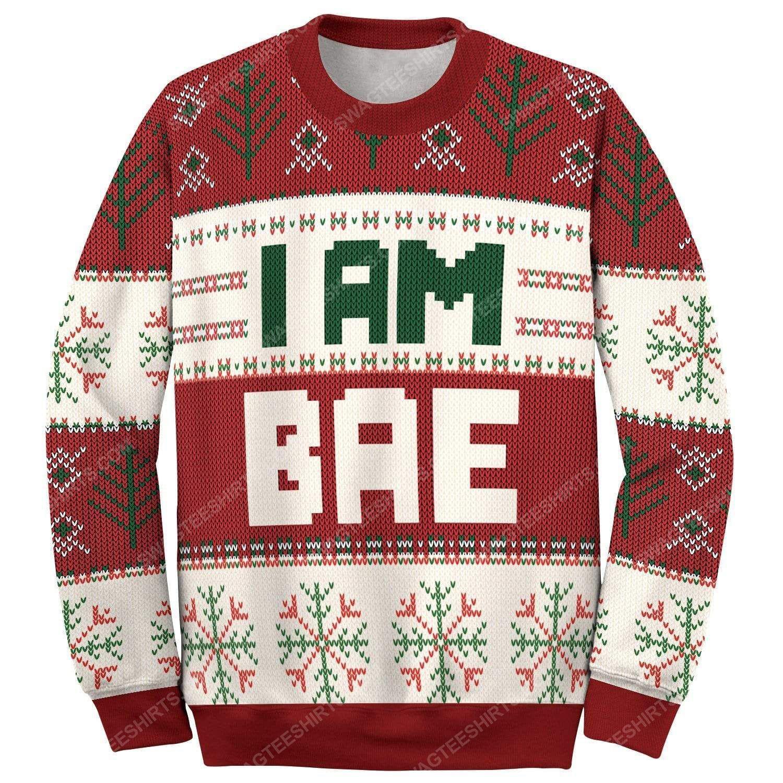 I am bae all over print ugly christmas sweater 2