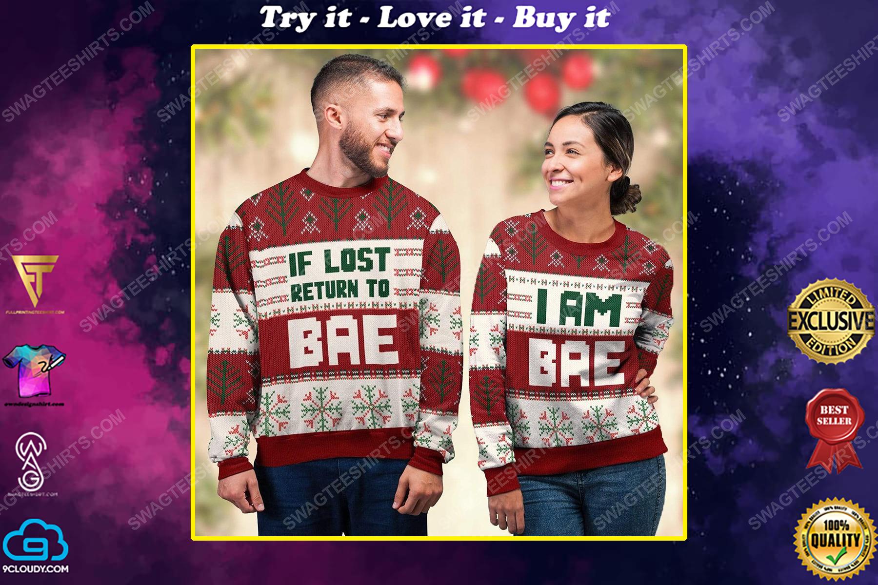 I am bae all over print ugly christmas sweater