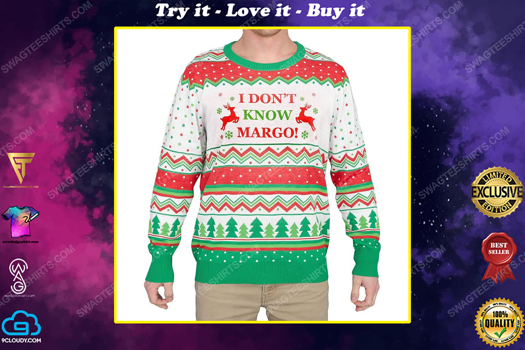 I don't know margo full print ugly christmas sweater