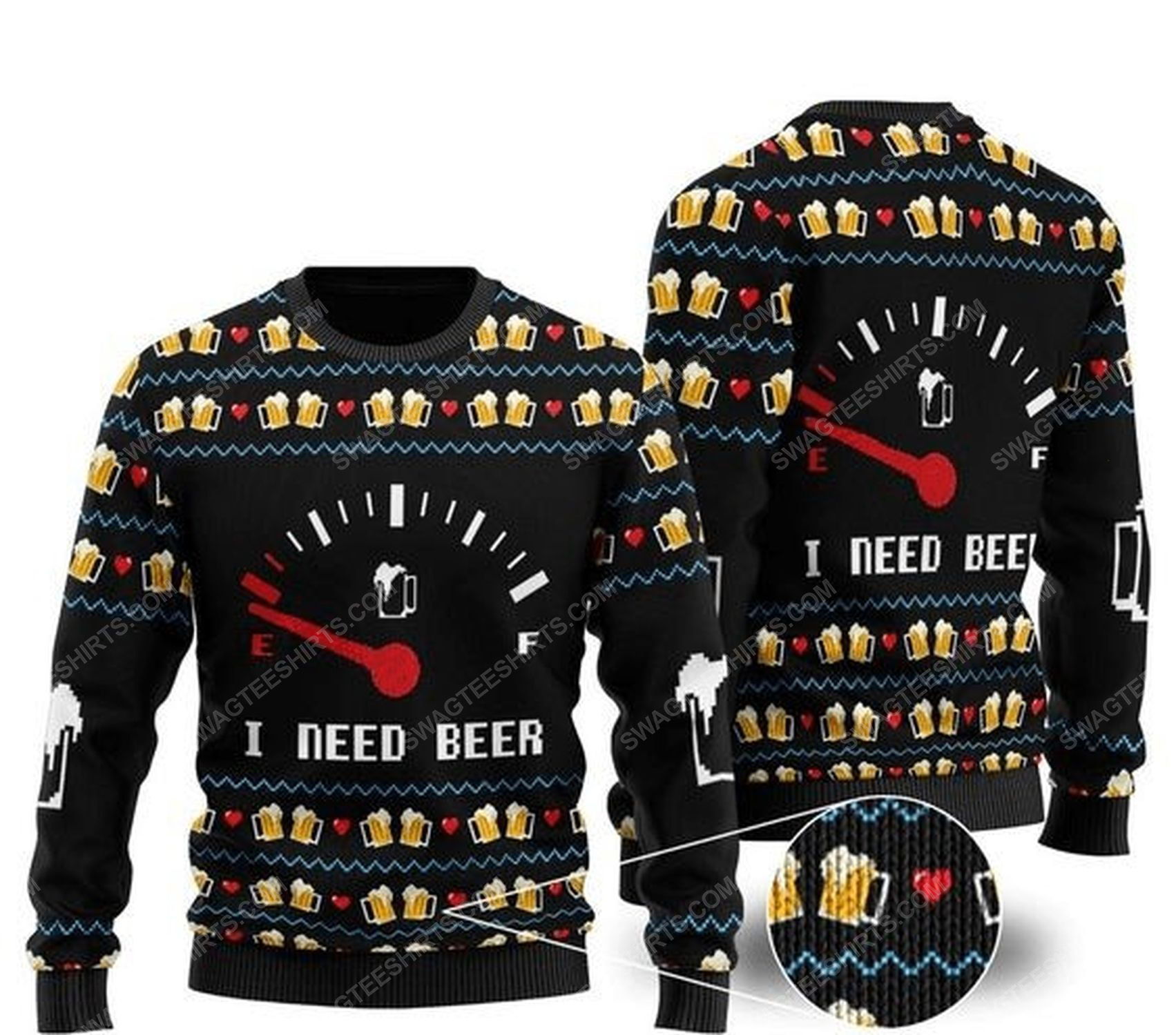 I need beer all over print ugly christmas sweater 1