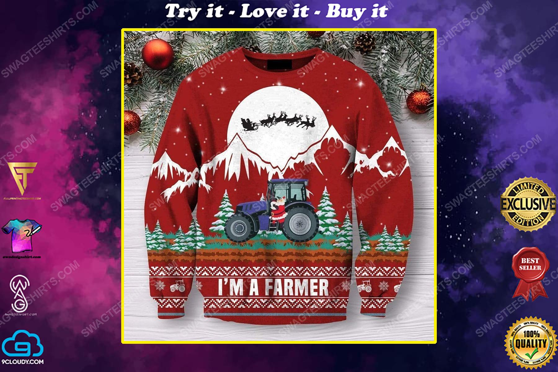 I'm a farmer all over print ugly christmas sweater