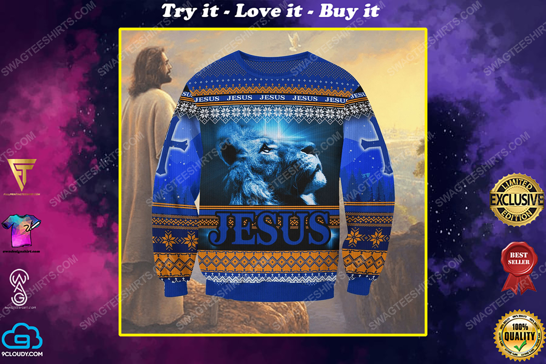 Jesus and lion all over print ugly christmas sweater