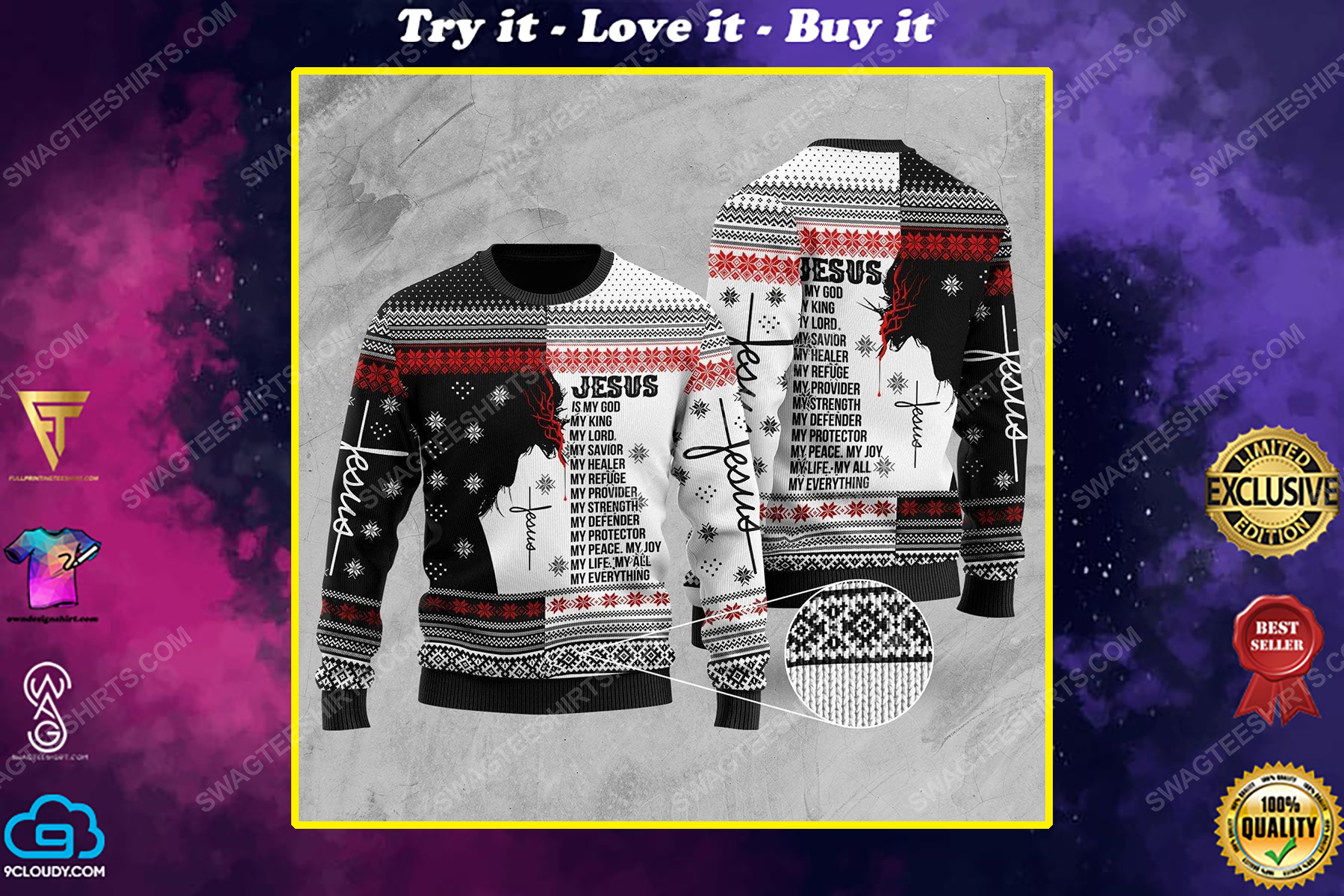 Jesus is my everything all over print ugly christmas sweater
