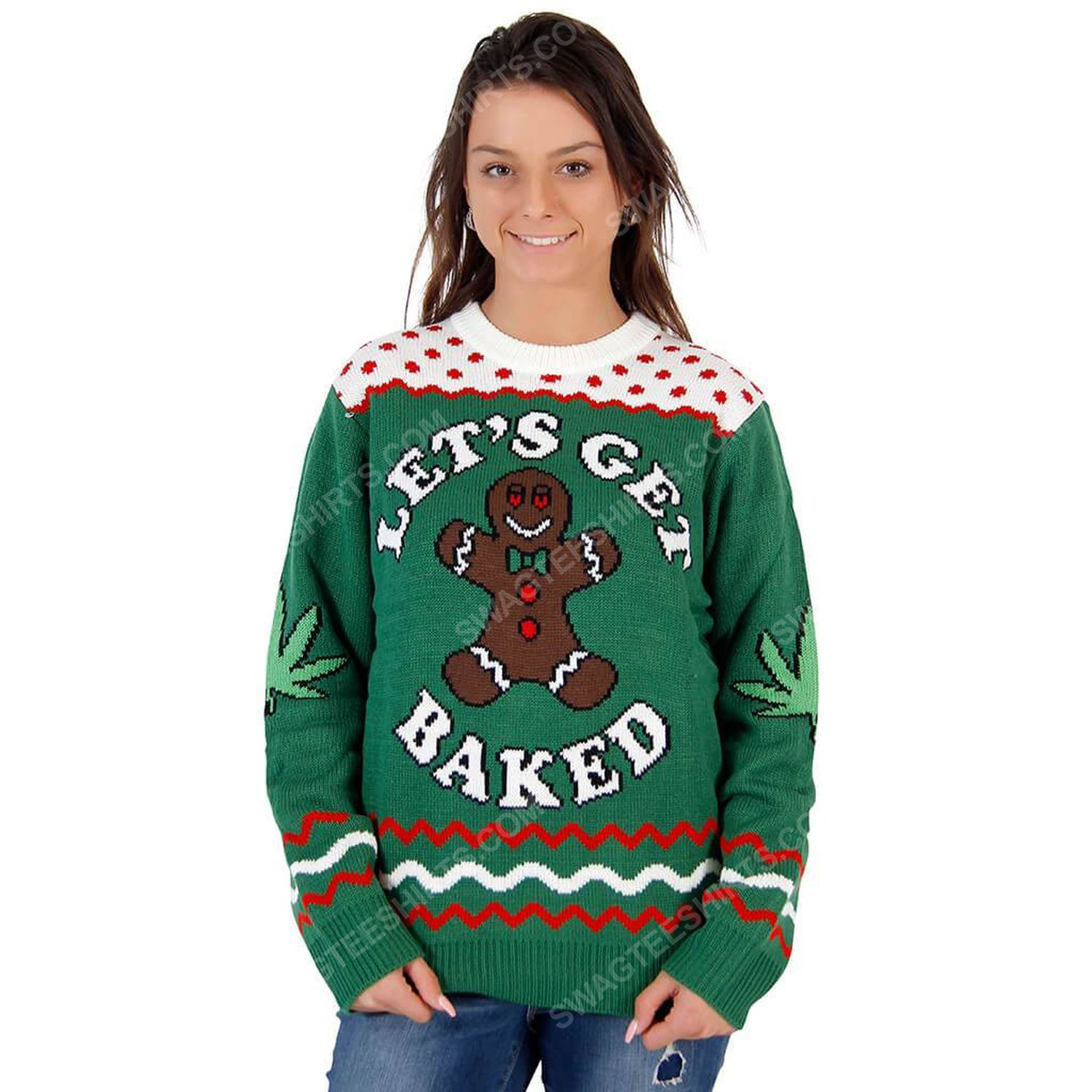 Let's get baked happy gingerbread ugly christmas sweater 2 - Copy