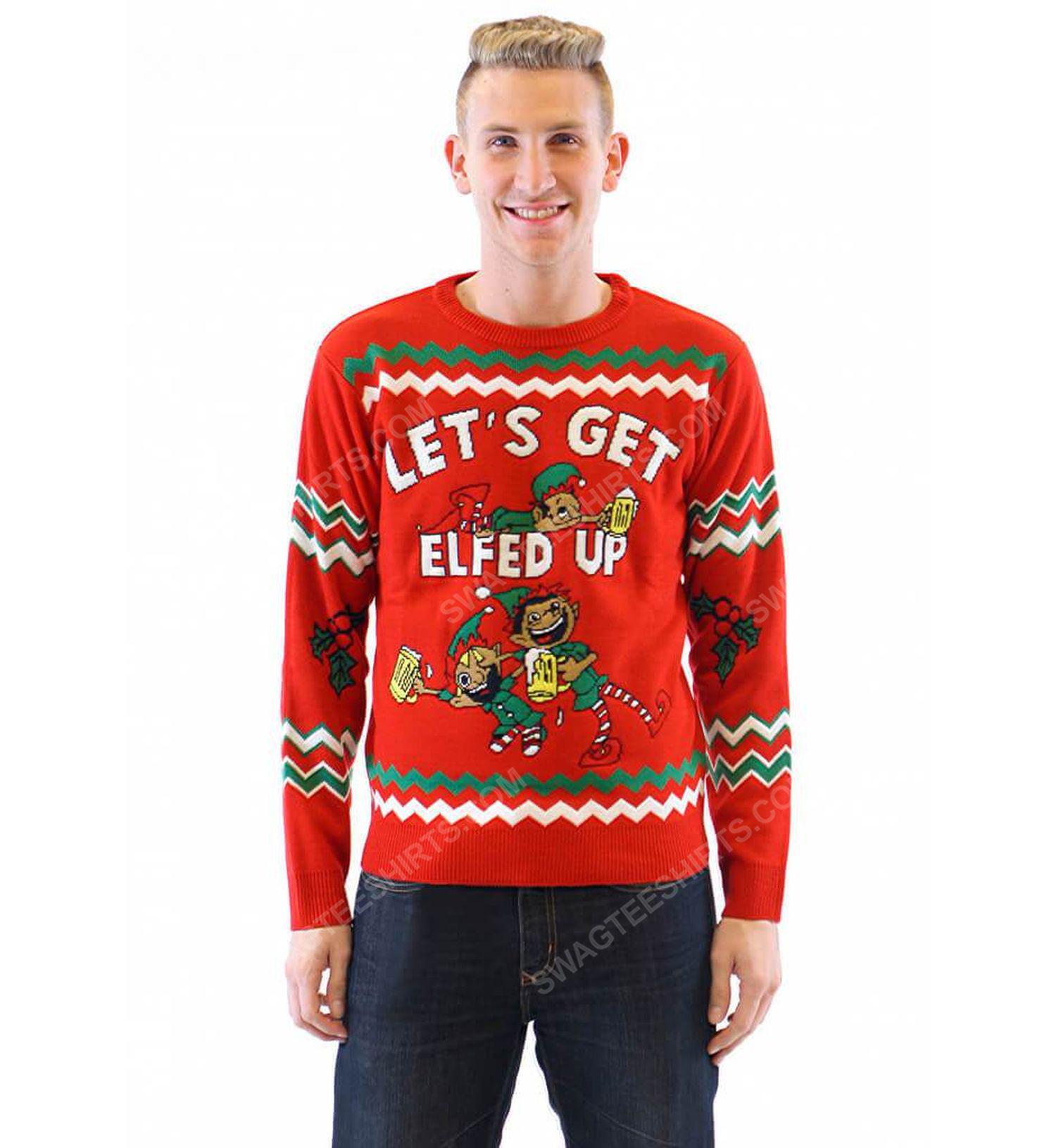 Let's get elfed up drunken elves full print ugly christmas sweater 2