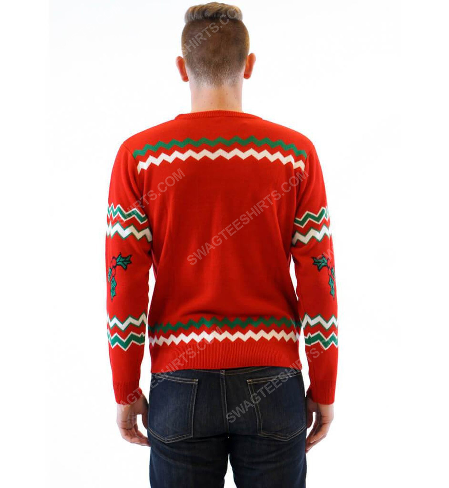 Let's get elfed up drunken elves full print ugly christmas sweater 3