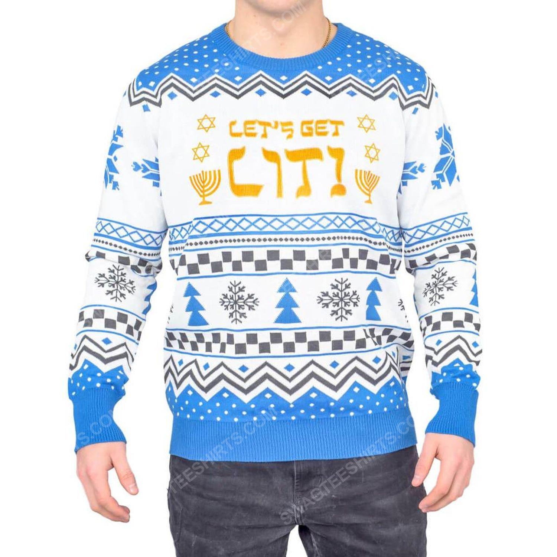 Lets get lit hanukkah full print ugly christmas sweater 2