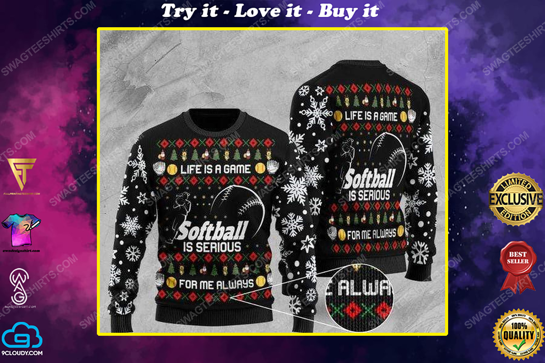Life is a game softball is serious ugly christmas sweater