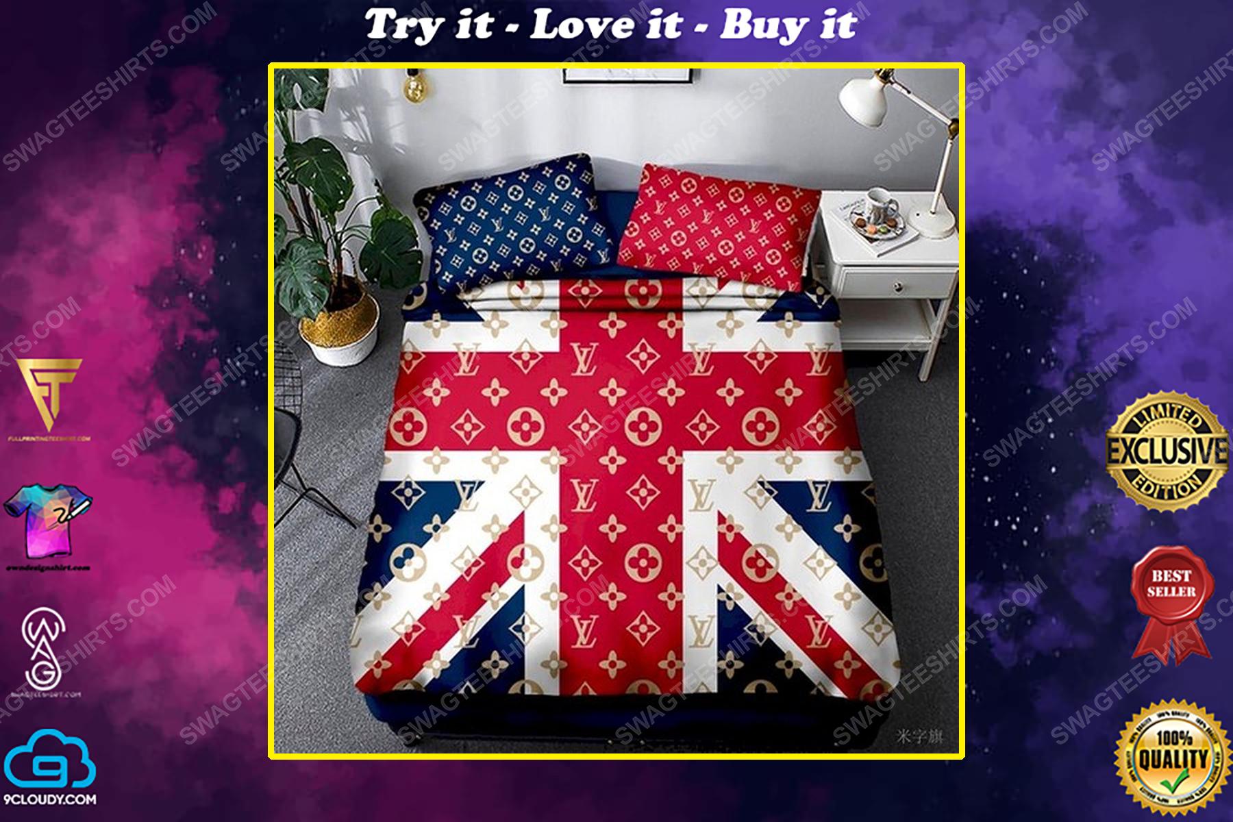 Lv and flag of the united kingdom full print duvet cover bedding set