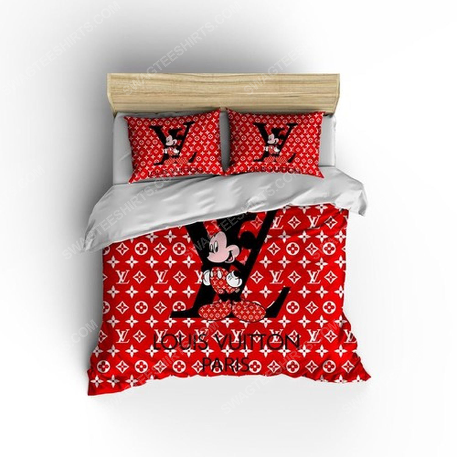 Lv and mickey mouse full print duvet cover bedding set 3
