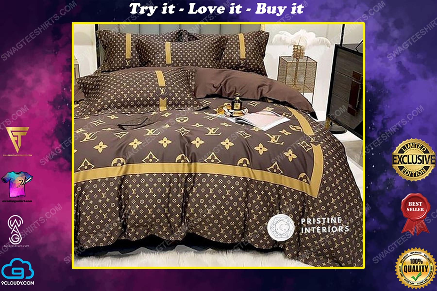 Lv monogram brown version full print duvet cover bedding set
