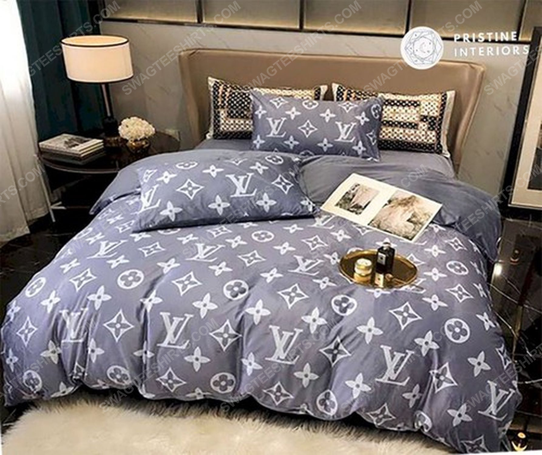 Lv monogram full print duvet cover bedding set 3 - Copy
