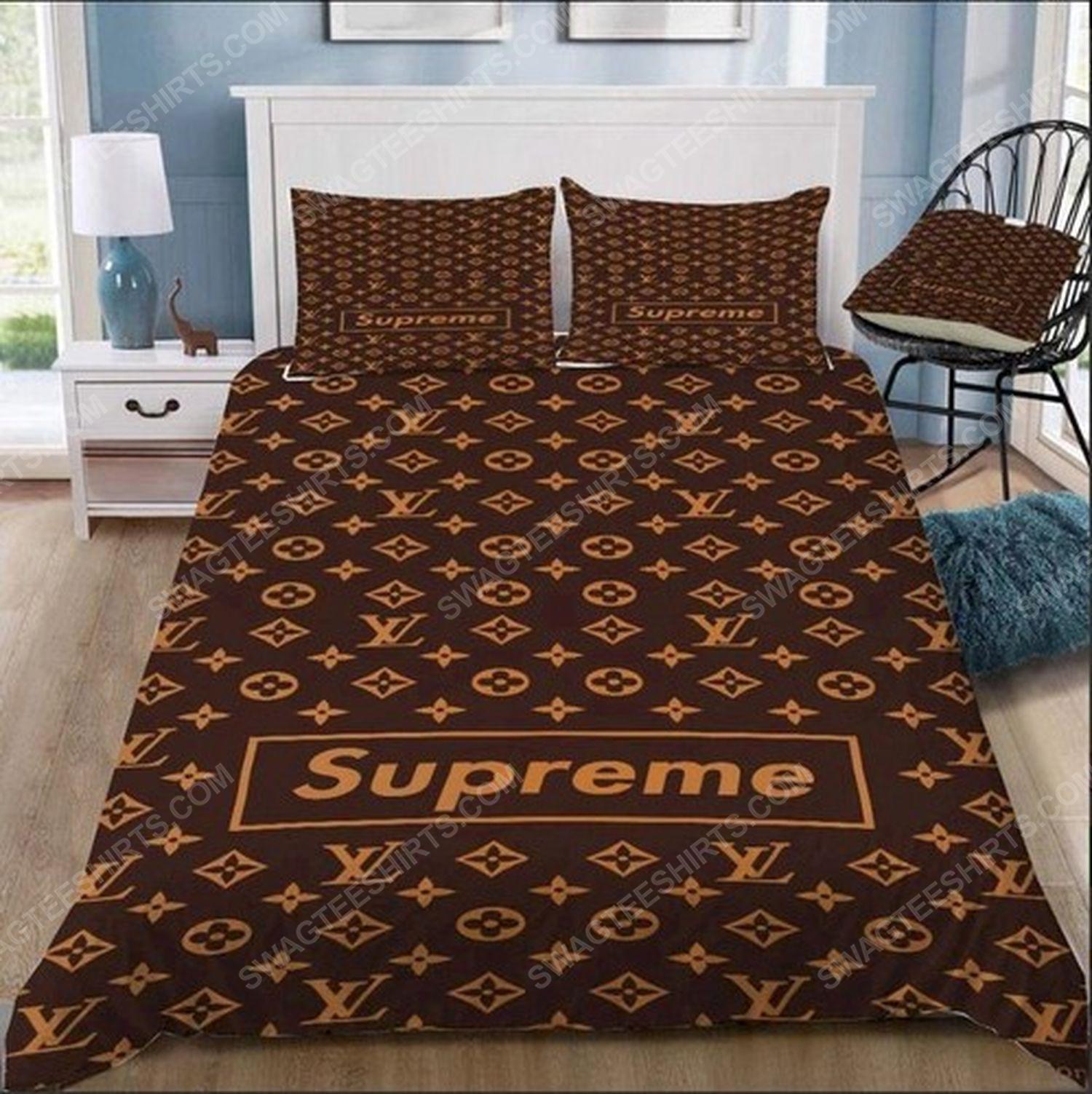 Lv monogram symbols full print duvet cover bedding set 3
