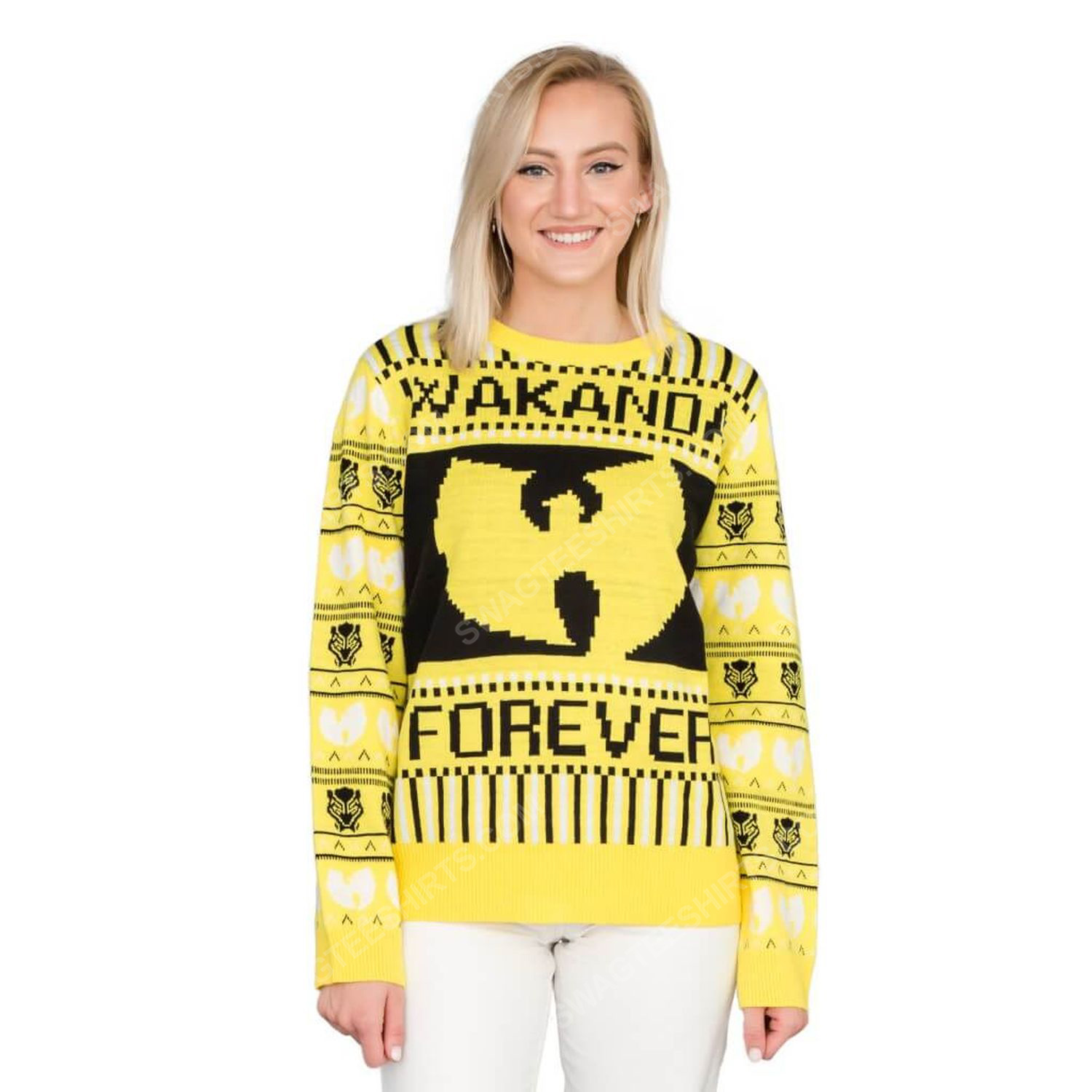 Marvel black panther wakanda forever wu tang ugly christmas sweater 2