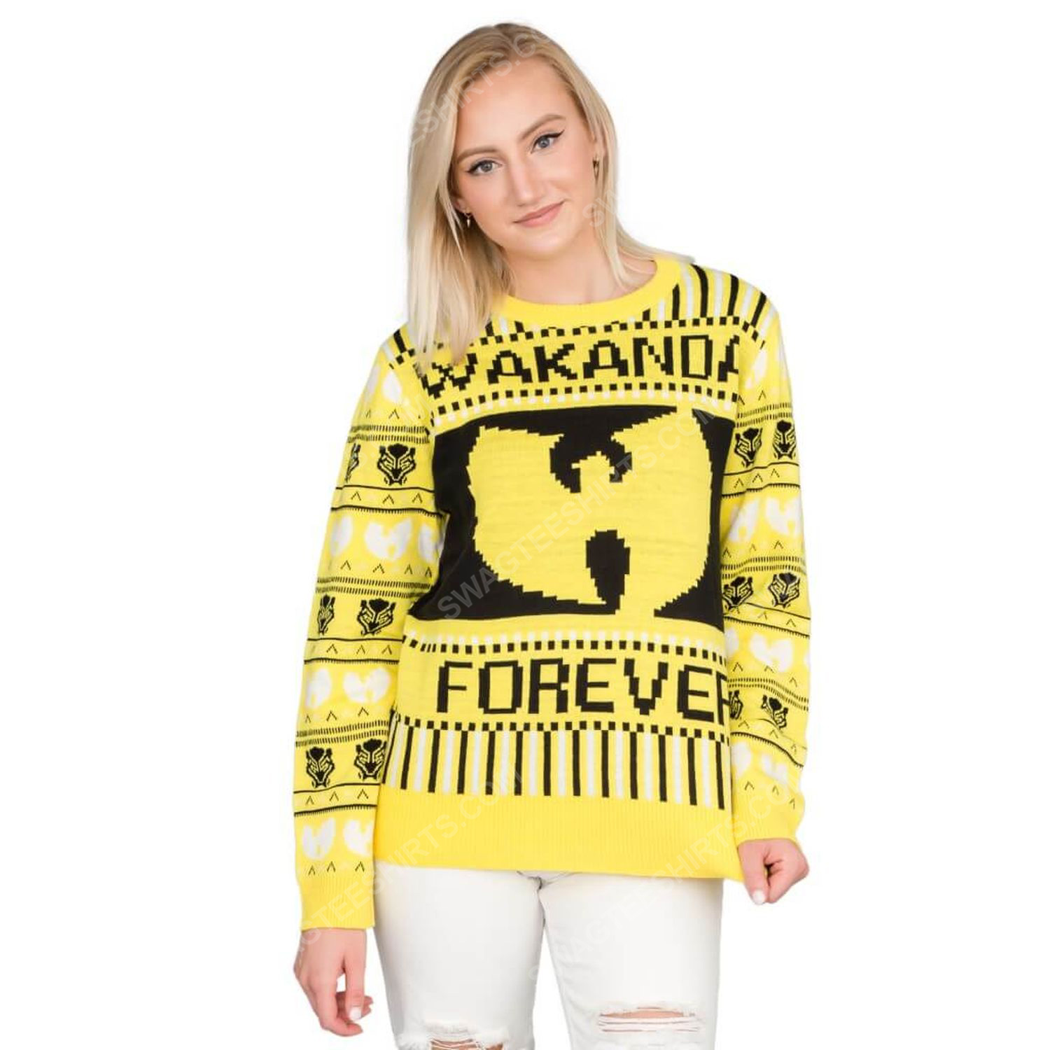 Marvel black panther wakanda forever wu tang ugly christmas sweater 3