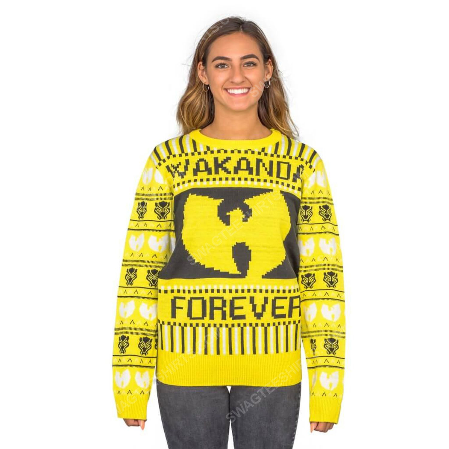 Marvel black panther wakanda forever wu tang ugly christmas sweater 4