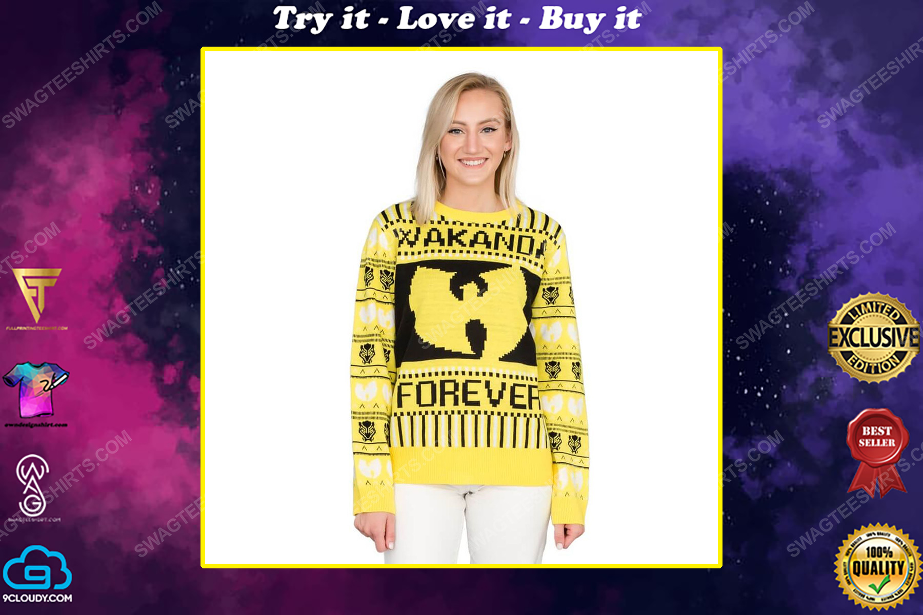 Marvel black panther wakanda forever wu tang ugly christmas sweater