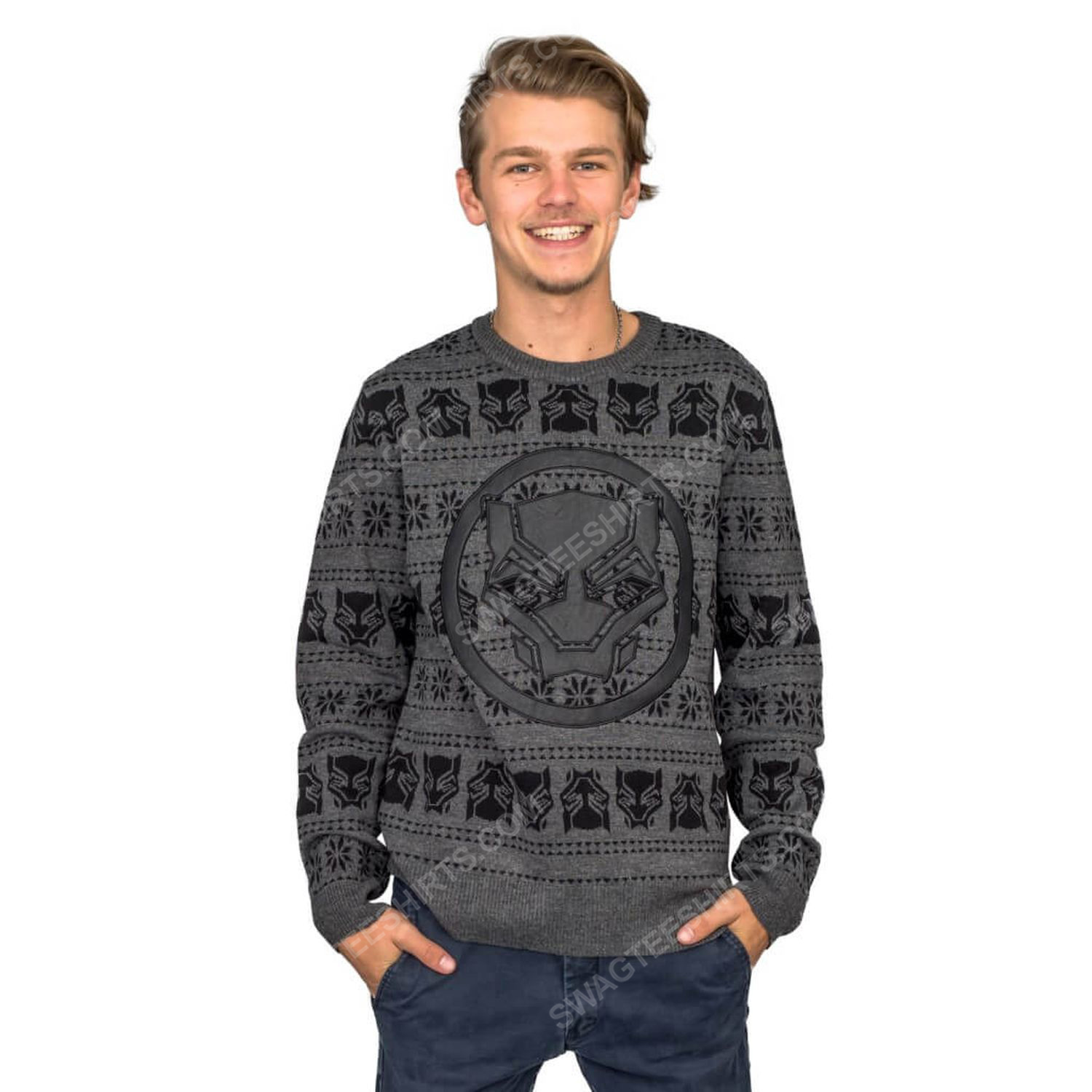 Marvel comics black panther full print ugly christmas sweater 2