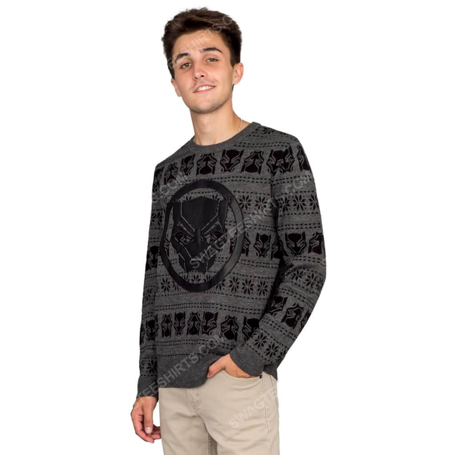 Marvel comics black panther full print ugly christmas sweater 3