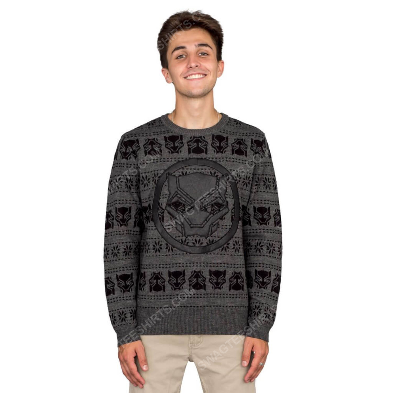 Marvel comics black panther full print ugly christmas sweater 4