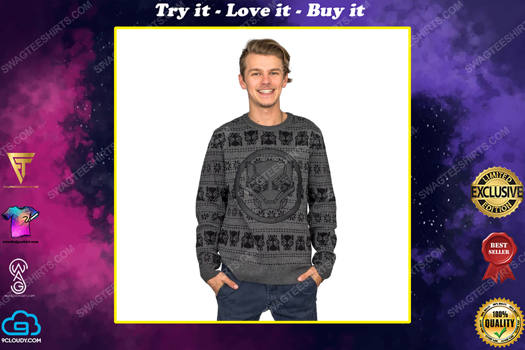 Marvel comics black panther full print ugly christmas sweater