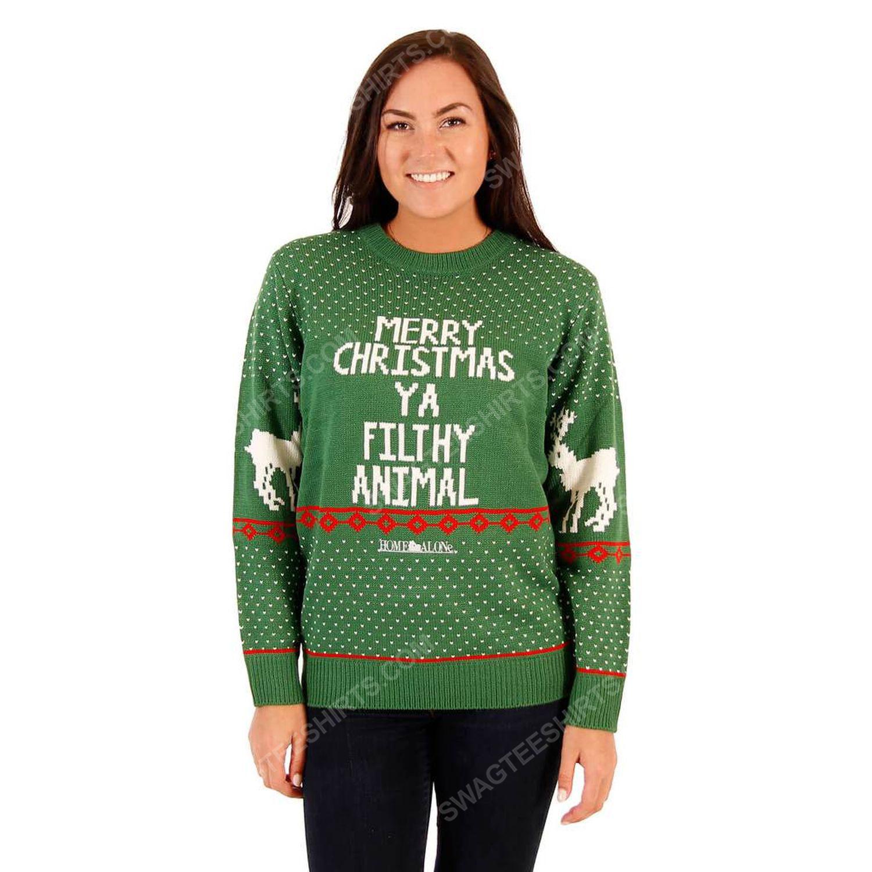 Merry christmas ya filthy animal reindeer full print ugly christmas sweater 3